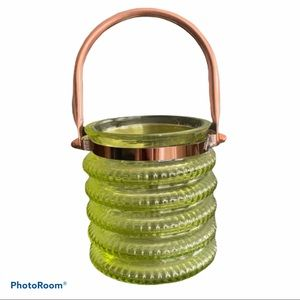 Green Glass Candle Holder with Removable Handle